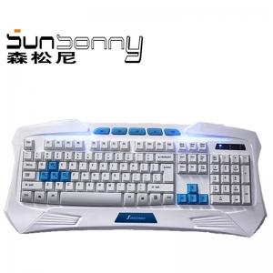 森松尼 SKV95三色发光防水抗暴游戏键盘(黑色PS/2白色,金色USB